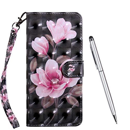TOUCASA für LG K40S Hülle, Handyhülle Brieftasche PU Leder Flip [3D] Hülle Magnetverschluss Handytasche Klapphülle Tasche Lederhülle Schutzhülle (Magnolie)