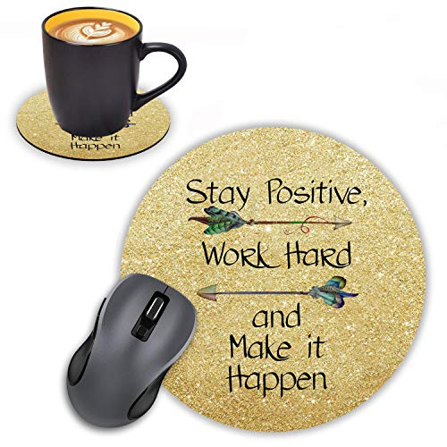 Round Mouse Pad with Coasters Set, Golden Glitter Inspirational Quote Stay Positive Work Hard and Make It Happen Mouse Pad, Non-Slip Rubber Base Mouse Pads for Laptop and Computer Office Accessories