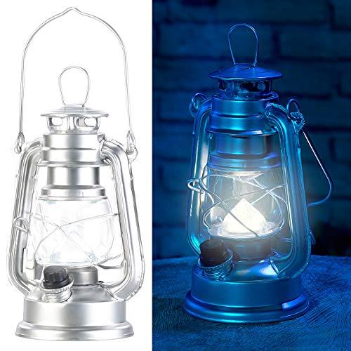 Lunartec Campingleuchte: Ultra helle Mini-LED-Sturmlampe, Batterie, 200lm, 3W, 8000 K, silbern (Sturm-Laternen)