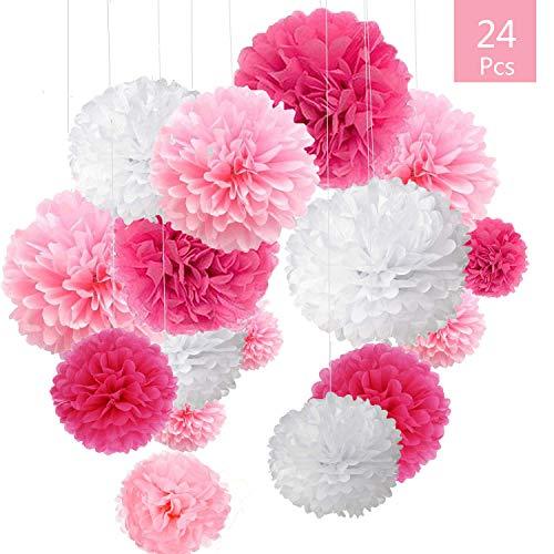 Pompon di carta Rosa, 24 pz Paper Flower Ball kit, decorazioni per matrimonio festa di compleanno decorazione