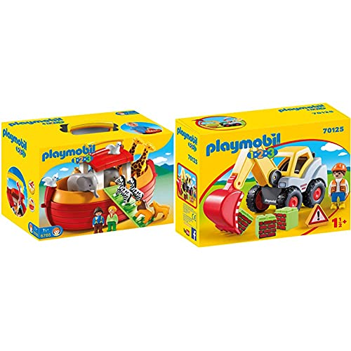 PLAYMOBIL 1.2.3 Playset Maletín, Arca De Noé, Multicolor, 18M + (6765) + -70125 1.2.3 Pala Excavadora, Multicolor, Talla Única (70125) , Color/Modelo Surtido