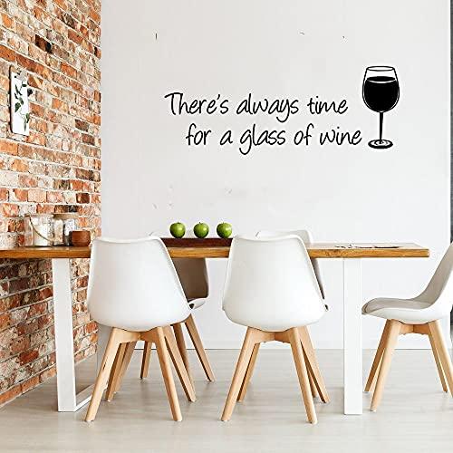 Siempre hay tiempo para una copa de vino Citas Tiempo para beber Vino tinto Copa Bar Pub Etiqueta de la pared Calcomanía de vinilo Dormitorio Sala de estar Oficina Club Decoración del hogar Mural