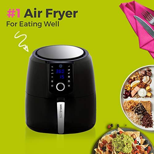 Simple Living Air Fryer, XL 5.8qt Hot Digital Air Fryer. 3 Air Fryer Accessories, Custom Recipe Book, 8 Cooking Presets, Non Stick Basket & Keep Warm Function