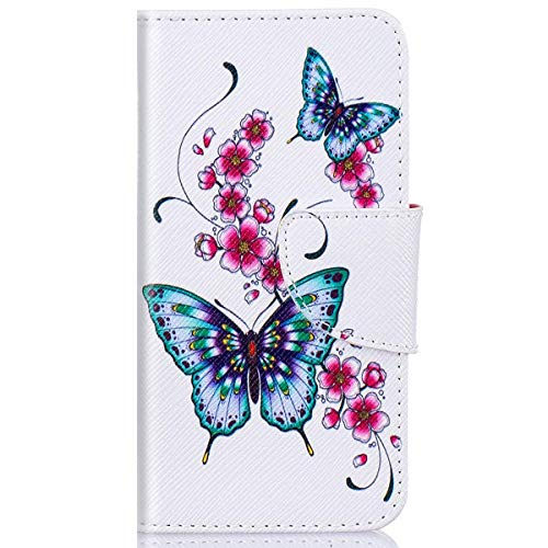kompatibel mit Huawei Y5 II Hülle,Huawei Y6 II Compact Lederhülle,Huawei Y6 II Compact Tasche Leder Flip Hülle Brieftasche,Gelmat Muster Handyhülle Schutzhülle für Huawei Y5 II (Blume Schmetterling)