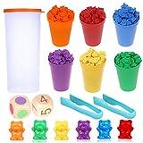 Camelize Bären Zählen,71 Stück Montessori Mathe Spielzeug,Bunte Regenbogen Zählen Bären Spiel mit passenden Bechern, Würfeln und Pinzetten, Perfect Math...