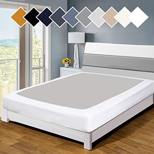 Twin Six Premium Bed Box Spring Cover Update Bed Skirt Wrap Around Cover, Mattress Cover, Queen/Split Queen, White