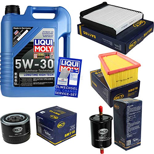 Preisvergleich Produktbild Filter Set Inspektionspaket 5 Liter Liqui Moly Motoröl Longtime High Tech 5W-30 SCT Germany Innenraumfilter Kraftstofffilter Luftfilter Ölfilter