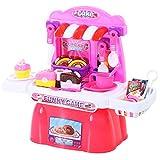 HOMCOM Kinderküche Kuchenset Küchenspielzeug Spielküche 20 Teile Zubehör Rosa PP 46 x 20,4 x 38,5 cm