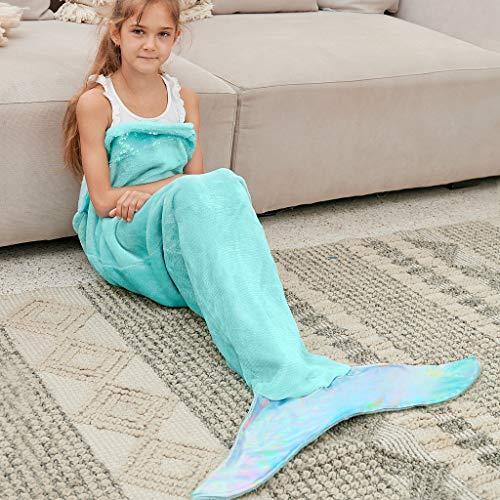 Bonzy Home Kids Mermaid Tail Blanket for Girls, Plush Soft Flannel Fleece All Seasons Sleeping Blanket Bag for Children (Mint)