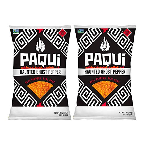 PAQUI Spicy Hot Tortilla Chips, Gluten Free Snacks, Haunted Ghost Pepper - 7 ounce ( Pack of 2 )