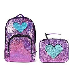 Violet/Light Blue Blue Sequin Elementary Book Backpack With Lunch Bag