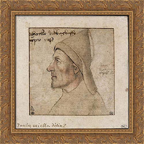Portrait of Man in Profile 20x20 Gold Ornate Wood Framed Canvas Art by Paolo Uccello