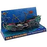 Baalaa Gran Acuario Decoración Barco Plástico Acuario Nave Aire Split Naufragio Pecera Decoración C