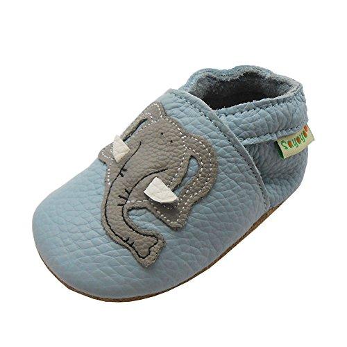 SAYOYO Echtleder WeichesLeder Lauflernschuhe Krabbelschuhe Babyschuhe (6-12 Monate, Blau Elefant)