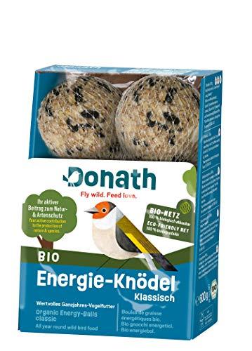 Donath BIO Energie-Knödel klassisch im BIO-Netz - 6 Meisenknödel im BIO-Netz (6 x 100g) - mit kraftspendendem Fett - wertvolles Ganzjahres Wildvogelfutter - aus unserer Manufaktur in Süddeutschland