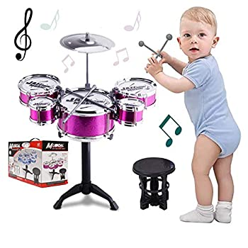 SKLOER Kids Drum Set Toddler Instrument Set Educational Percussion Stimulating Children's Creativity Drum Set for Kids Musical Boys and Girls Purple