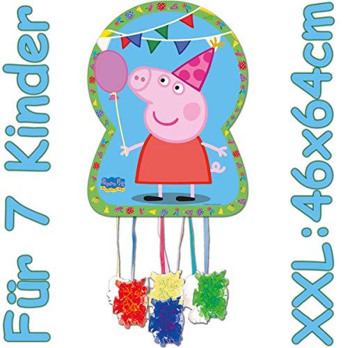 Carpeta XXL-Pinata * Peppa Pig * als Zugpinata für Kindergeburtstag | Größe: 46x64cm | Piñata für 7 Kinder | Wutz Geburtstag Party Spiele Spass