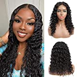 Lace Front Wigs Human Hair Deep Wave Lace Closure Wigs, 150% Density Brazilian Virgin Human Hair Wigs Pre Plucked with Baby Hair for Black Women Natural Color (22inch)
