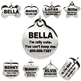 Stainless Steel Pet ID Tags - Engraved Personalized Dog Tags, Cat Tags Front & Back up to 8 Lines of Text – Bone,...
