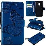ShuiSu - Funda con tapa para Motorola Moto G4 Play, diseño de mariposas, piel sintética, suave, cierre magnético, función atril, tarjetero, correa, color azul