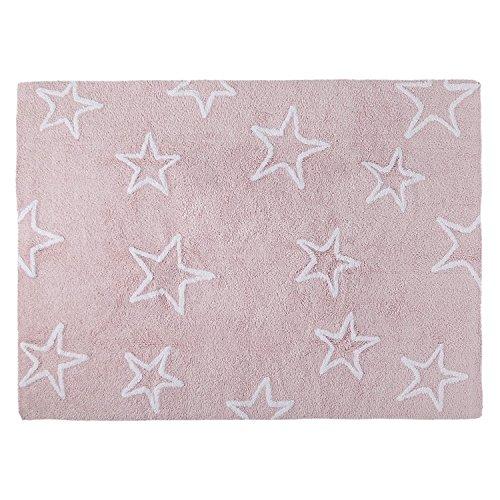 Alfombra Infantil Lavable Modelo Estrellas Color Rosa