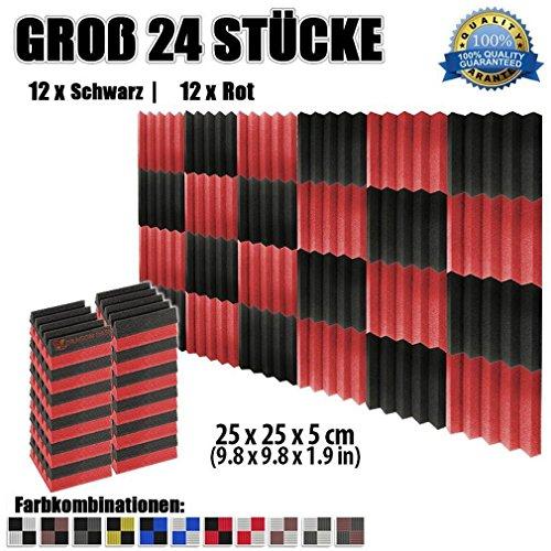 Super Dash (24 Stuck) von 25 X 25 X 5 cm Schwarz & Rot Keil Akustikschaumstoff Noppenschaumstoff Akustik Dammmatte Schallisolierung Schaumstoff Polster Fliesen SD1134 (SCHWARZ & ROT)
