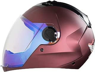 Steelbird Exclusive SBA-2 7WINGS Full Face Helmet in Matt Finish with Dual Action Night Vision Blue Visor (Large 600 MM, Matt Maroon)