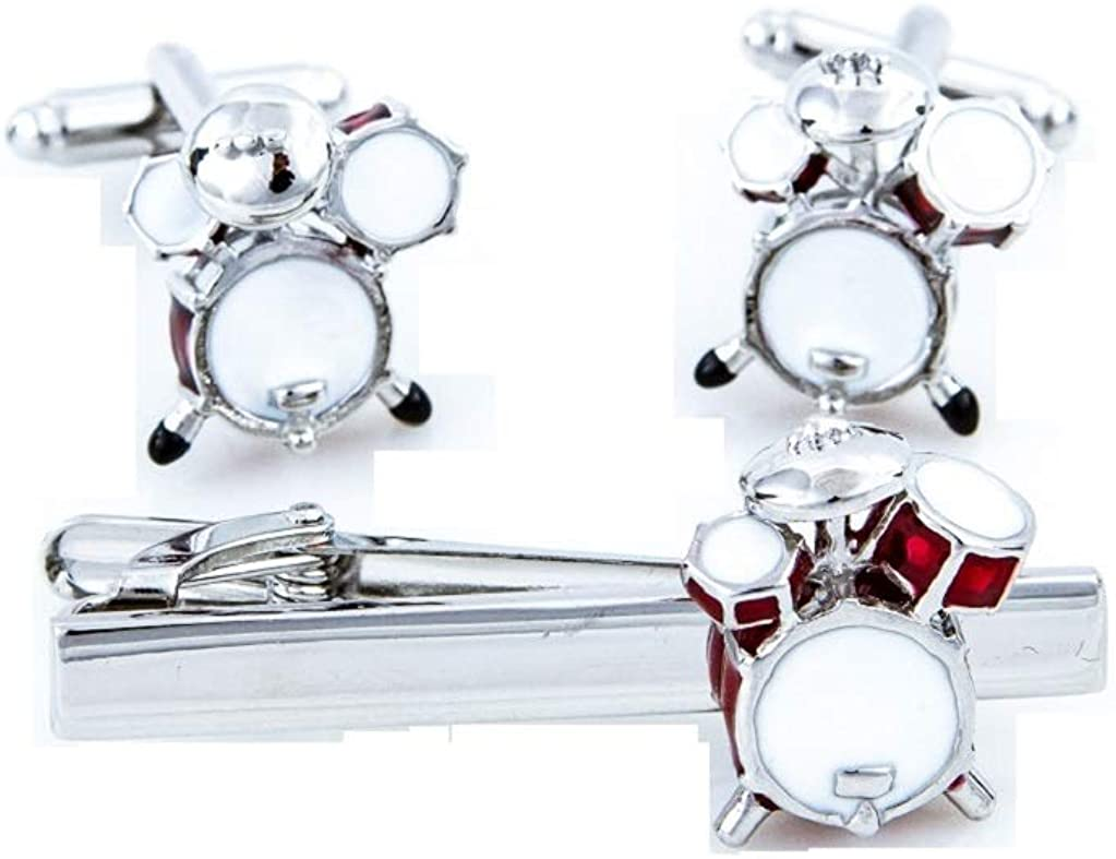 MRCUFF Drums Drum Set Pair Cufflinks and Tie Bar in a Presentation Gift Box with Polishing Cloth