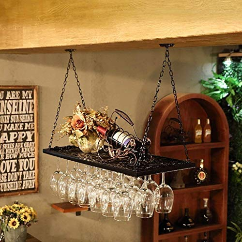 YO-TOKU Weinregal Retro Wall Weinregal Metall Eisen Storage Rack Bar LOFT Decken-Wand-Hänge Wein-Champagne-Glas-Wein-Glasbecher-Rack Weinflasche Rack-Schwarz Größe: 60 * 31cm Fashion art Weinregale Ho