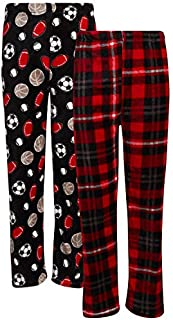 Image of 2 Pack Fleece Red Plaid and Sports Ball Pajama Pants for Boys - See More