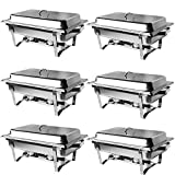 ROVSUN 6 Packs 8 Quart Chafing Dish, Stainless Steel Catering Serve Chafer, Restaurant Food Warmer, Full Size Rectangular Buffet Stove with Sturdy Frame for Party (8Qt w/Full Size Pan - 6 Pack)