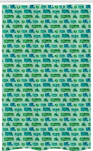 ABAKUHAUS kampeerder Douchegordijn, Pleinen en Caravans, voor Douchecabine Stoffen Badkamer Decoratie Set met Ophangringen, 120 x 180 cm, Mint Green Green
