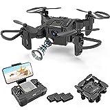 JJDSN Mini Drone con cámara de 720p para niños y Adultos, FPV V2 Drone Principiantes RC Quadcopter de Video en Vivo Plegable, Control de Aplicaciones, Volteretas 3D y Modo sin Cabeza, Retorno de u