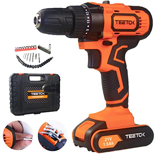 21V Cordless Drill Driver, Screwdriver Combi Drill with Action Magnet, LED Work Light, Carry Case with 29 Piece Accessory Kit, 2 Variable Speed & Quick Stop Function 17 + 1 Torque Setting Drill