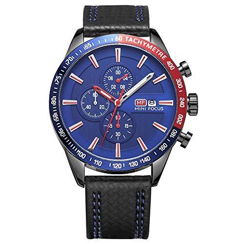 MHCYKJ Mode Sport-Quarz-Uhr-Mann-3 Sub Wahl 6 Hände Chrono Multifunktions-Kontrast-Farben-Chic-Jungen-Armbanduhr-Box,Blau