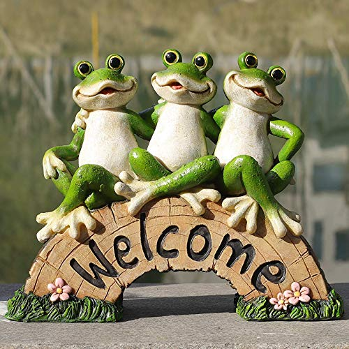 Frog Garden Decor, Welcome Sign Statue for Yard Patio Lawn Funny Fairy Ornaments Outside Figurine Gardening Gifts Decorations