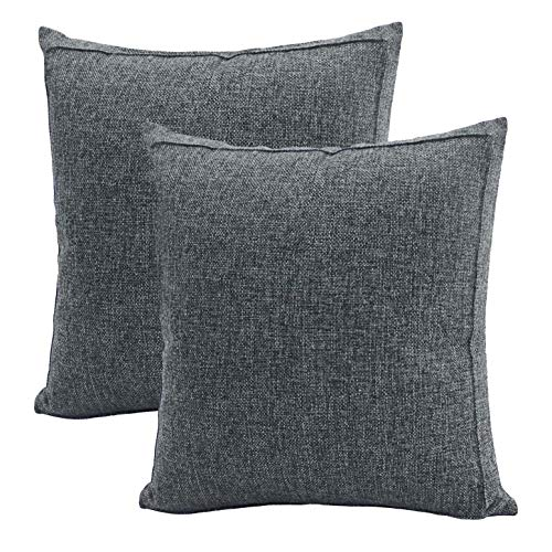 Jepeak Burlap Linen Throw Pillow Covers Cushion Cases, Pack of 2 Farmhouse Modern Decorative Solid Square Thickened Pillow Cases for Sofa Couch (Charcoal Gray, 20 x 20 inches)