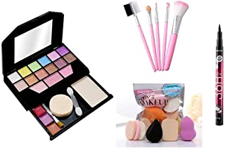 Women's & Girl's TYA Fashion Mini 5024 Multicolour Makeup Kit with 5 Pink Makeup Brushes Set and 6 Sponges Pack and 1 YANQ...