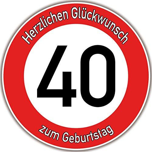 Tortenaufleger Fototorte Tortenbild Warnschild 40. Geburtstag rund 14 cm GB07 (Zuckerpapier)