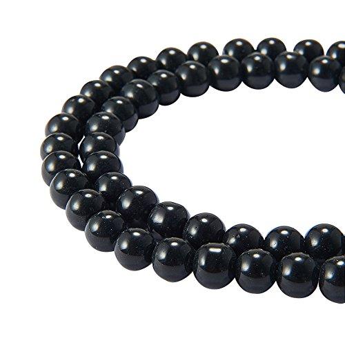 PandaHall - 1 Enfilade de 110 Perles Rondes Verre Nacre Imitation Perles d'eau Douce Couleur Noire 8mm