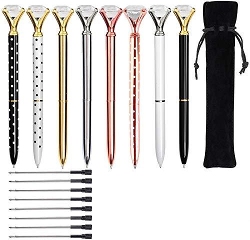 KEKU - Bolígrafo de punta redonda de metal (8 unidades), color negro y 8 recambios para bolígrafo para mujeres, colegas, niños, niñas