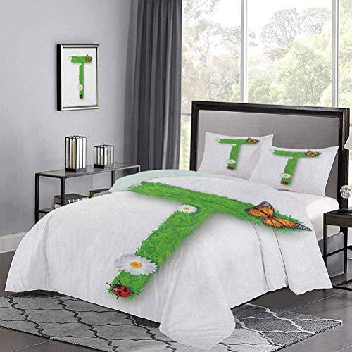 Funda nórdica de en Forma de T con diseño botánico de Fragancia floreciente y Funda de edredón Ladybug para niñas, Ideal para acurrucarse con At Night Green Multicolor