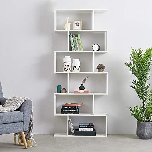 Panana Songtree - Librería de 6 Niveles Estantería para Libros Adornos Fotos División de Oficina Sala Dormitorio (80x23x192cm) (Blanco)