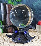 Ebros Neopagan Sacred Moon Triple Goddess Mother Maiden Crone Full and Crescent Moons Scrying Glass Gazing Ball Figurine 6.5' H Wicca Wiccan Holy Trinity Deity Decor Statue Sculpture Decorative