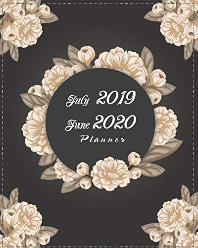 """July 2019-June 2020 Planner: Black Cover Floral, 12 Months July-June Calendar, Daily Weekly Monthly Planner 8"""" x 10"""""""