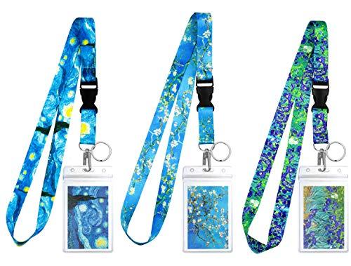 Lot de 3 lanières de modèles assortis avec porte-ID et porte-clés pour clés, professeurs, infirmières. Accessoires de croisière et de travail indispensables. Collection Van Gogh.