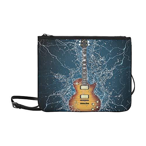 JEOLVP E-Gitarren-Wasser auf Schwarzem Lager Abbildung Muster Benutzerdefinierte hochwertige Nylon Slim Clutch Bag Cross-Body Bag Umhängetasche