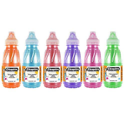 Cleopatre - EAD250NX6B - Lote de 6 frascos de tinta nacarada para dibujar, 250 ml, colores secundarios