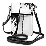 Women Small Cell Phone Purse Crossbody,Japanese Comics Strip With Boy And Girl Fight Scene Manga Image Cartoon Print