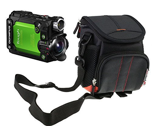 Navitech Black Camera Case Bag Compatible with The Olympus Tough TG-Tracker Waterproof Action Camera